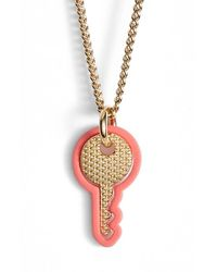 Marc Jacobs | Pink Key Pendant Necklace | Lyst