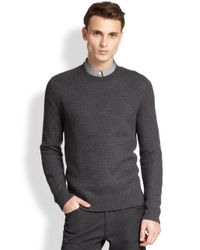 Theory - Gray Merino Wool Basketweave Sweater for Men - Lyst