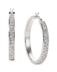 Lauren by Ralph Lauren - Metallic Silvertone Pave Crystal Medium Hoop Earrings - Lyst