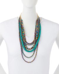 Devon Leigh - Blue Titanium Quartz & Turquoise Multi-strand Necklace - Lyst