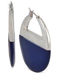 Kenneth Cole | Blue Silver-tone Shell Hoop Earrings | Lyst