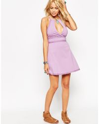 ASOS | Purple Halter Skater Dress With Wrap Front And Lace Trim | Lyst