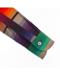Paul Smith | Metallic Men's Rainbow 'blanket Stripe' Print Cotton And Wool-blend Shirt for Men | Lyst