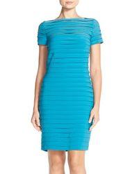 Adrianna Papell Blue Pleated Jersey Sheath Dress