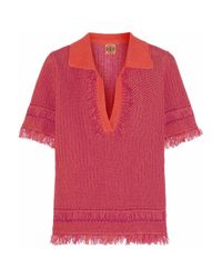 Tory Burch Red Brielle Knitted Cotton Top