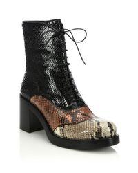 Miu Miu - Black Colorblock Snakeskin Lace-up Boots - Lyst
