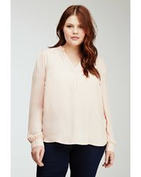 Forever 21 | Pink Classic Buttoned Blouse | Lyst