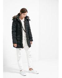 Mango Black Faux Fur Hood Coat