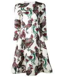 Rochas - White Rooster Dress - Lyst