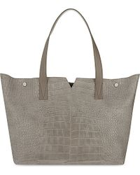 VINCE | Gray Croc-embossed Leather Tote | Lyst