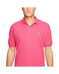 Polo Ralph Lauren - Pink Custom-fit Mesh Polo for Men - Lyst