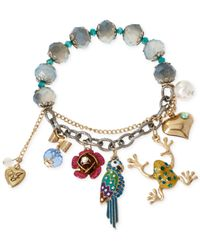 Betsey Johnson - Multicolor Gold-Tone Tropical Charm Stretch Bracelet - Lyst