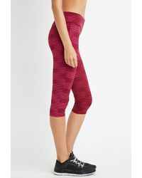 Forever 21 - Purple Polka Dot Athletic Capri Leggings - Lyst