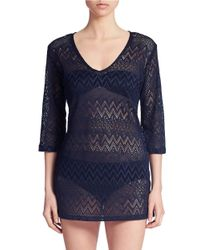 J Valdi - Blue Crochet Swim Tunic - Lyst