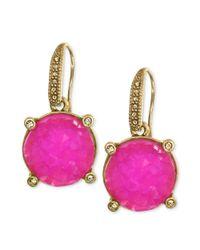 RACHEL Rachel Roy | Pink Earrings Worn Goldtone Fuschia Drusy Drop Earrings | Lyst