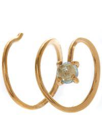 Melissa Joy Manning - Metallic Gold Blue Topaz Spiral Hug Hoop Earrings - Lyst