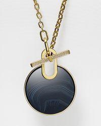 "Michael Kors Black Circle Pendant Necklace, 32"""