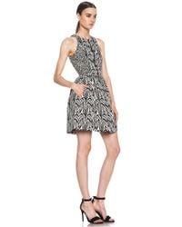 Nicholas - Black Zebra Jacquard Zip Front Dress - Lyst