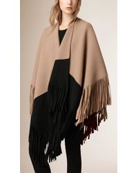 Burberry - Natural Fringed Felted Wool Cashmere Poncho - Lyst