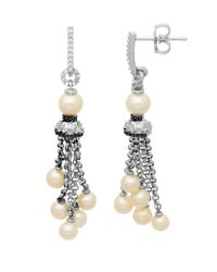 Lord & Taylor | White Sterling Silver Pearl And Diamond Tassel Drop Earrings .14 Ctw | Lyst