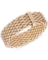 Anne Klein - Metallic Textured Wide Stretch Bracelet - Lyst