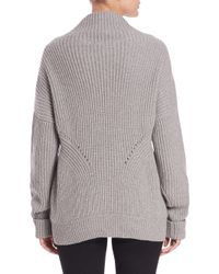 Burberry Gray Chunky Cashmere & Cotton Turtleneck