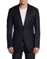 Armani | Blue Wool Cashmere Windowpane Jacket for Men | Lyst