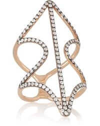 Diane Kordas Metallic Shield 18karat Rose Gold Diamond Ring
