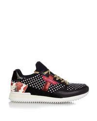 Dolce & Gabbana Black Diamond Embossed Nylon Sneakers