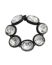 Kenneth Jay Lane | Metallic Black Plated Crystal Bracelet | Lyst