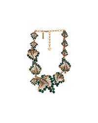 Oscar de la Renta - Green Cut Out Jeweled Leaf Necklace - Lyst
