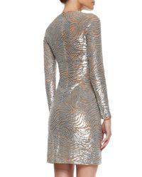 Michael Kors - Metallic Wave-beaded Tulle Sheath Dress - Lyst