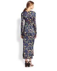 SUNO Blue Fruitprint Satin Midi Dress
