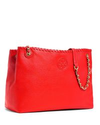 Tory Burch | Red Marion Chain-shoulder Slouchy Tote | Lyst