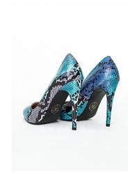Missguided - Blue Zamia Snakeskin Court Shoes - Lyst