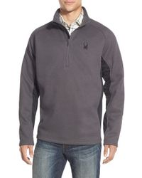 Spyder | Gray 'outbound' Quarter Zip Knit Pullover for Men | Lyst