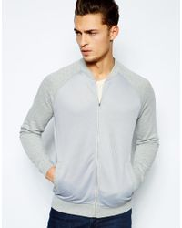 ASOS | Gray Bomber In Jersey With Mesh Body for Men | Lyst