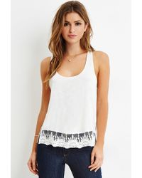 Forever 21 | Natural Embroidered-lace Trim Tank | Lyst