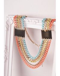 Missguided   Multicolor Chunky Layered Chain Necklace Neon   Lyst