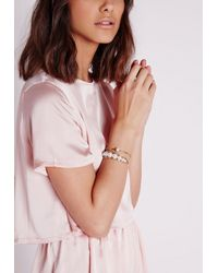 Missguided | Metallic Pearl Detail Bracelet Set Gold | Lyst