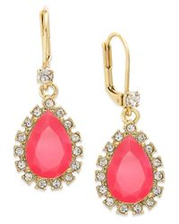 kate spade new york | Metallic Gold-tone Teardrop Crystal Leverback Drop Earrings | Lyst