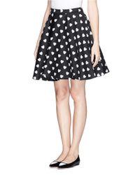 Alice + Olivia Black Allover Heart Pattern Flare Skirt