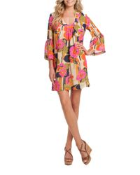 Trina Turk Pink Silk Floral Bell-sleeved Dress