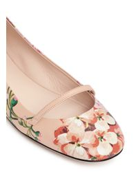 Gucci Pink 'shanghai Blooms' Print Leather Mary Jane Flats