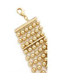 Fallon | Metallic Bead Choker Necklace - Gold | Lyst