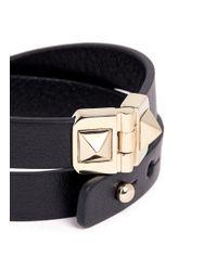 Valentino | Black Rockstud Double Wrap Hinge Leather Bracelet | Lyst