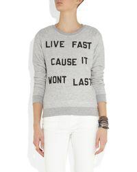Zoe Karssen Gray Live Fast Jersey Sweatshirt
