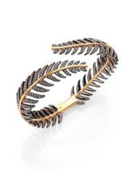 Adriana Orsini Metallic Plume Pavé Crystal Bypass Bracelet/goldtone