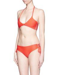 Mikoh Swimwear Orange 'vanuatu' Lace-up Side Boy Short Bikini Bottoms