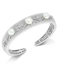 Macy's | Metallic Diamond (1/4 Ct. T.w.) And Cultured Freshwater Pearl (7mm) Cuff Bracelet In Sterling Silver | Lyst